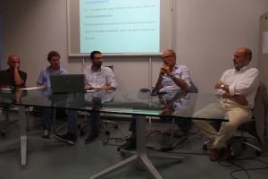 Il tavolo dei relatori con il Presidente Colombo al microfono affiancato da Silvano Appiani (consigliere delegato allo sport del Comune di Monza, primo a destra)