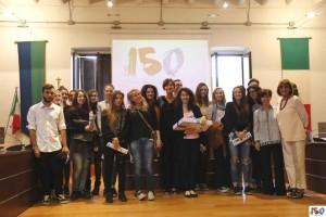 Premiazione dei ragazzi delle scuole che hanno partecipato al concorso indetto dal Comune di Brugherio per il logo del 150° (foto Fabrizio Melina)