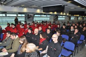 La platea degli ospiti alla presentazione della MTS nella sala stampa dell'Autodromo di Monza