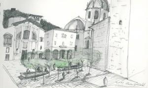 Como, il disegno di Piazza Grimoldi