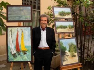 Gino Scarafiotti tra le sue opere