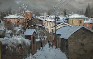 Una Calolziocorte innevata in un quadro di Arturo Bonanomi