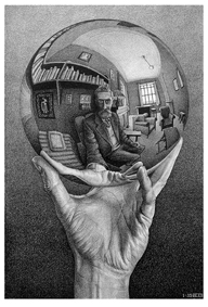 M.C.Escher - Mano con sfera riflettente 1935-litografia, 31,1x21,3 cm-Fondazione M.C.Escher-All M.C.Escher works©2016 The M.C.Escher Company.All right reserved. www.mcescher.com