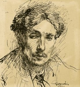 Autoritratto di Gino Sandri, grande illustratore morto a Mombello