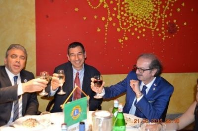 Lions Club Vimercate, da sinistra il presidente Chetta, il Sindaco Sartini e il Governatore Trovato