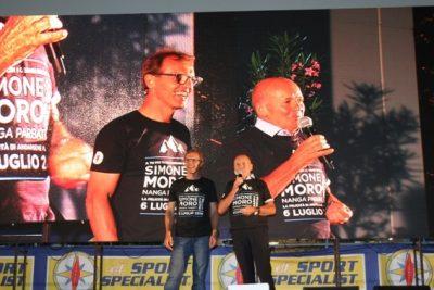 Simone Moro (a sinistra) presentato da Sergio Longoni