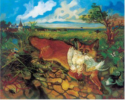Antonio Ligabue, Volpe in fuga, 1948, olio su tavola di faesite, 60x75 cm