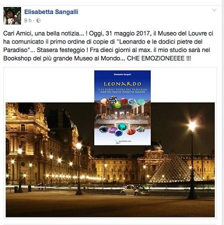 Il post con il quale Elisabetta Sangalli ha esternato tutta la sua grande gioia per l'arrivo del suo libro nel bookshop del Louvre