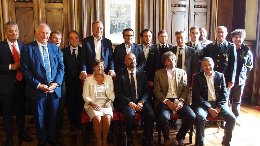 Foto di gruppo per i protagonisti del GP d'Italia: si riconoscono